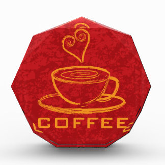 Cup of Coffee with Love on Red Background Illustra Award