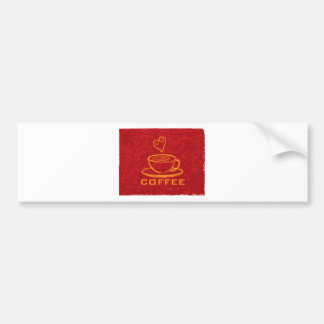 Cup of Coffee with Love on Red Background Illustra Bumper Sticker