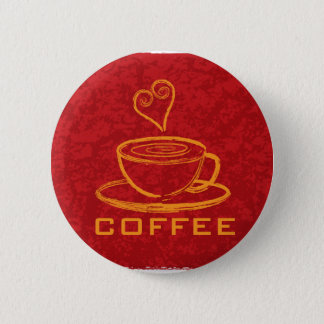 Cup of Coffee with Love on Red Background Illustra Button