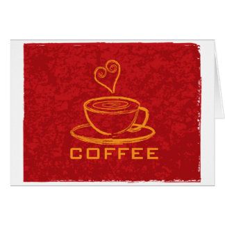 Cup of Coffee with Love on Red Background Illustra Card