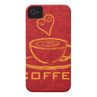Cup of Coffee with Love on Red Background Illustra iPhone 4 Cover