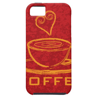 Cup of Coffee with Love on Red Background Illustra iPhone SE/5/5s Case