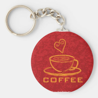 Cup of Coffee with Love on Red Background Illustra Keychain