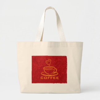 Cup of Coffee with Love on Red Background Illustra Large Tote Bag