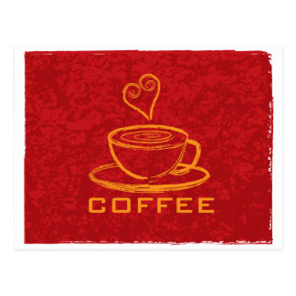 Cup of Coffee with Love on Red Background Illustra Postcard