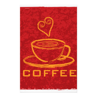 Cup of Coffee with Love on Red Background Illustra Stationery