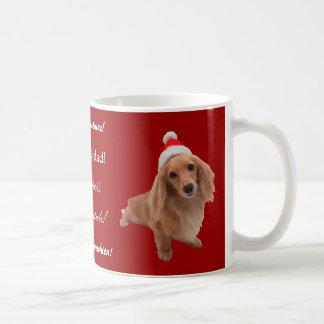 """Cup of """"dachshund"""" Christmas Mugs"""