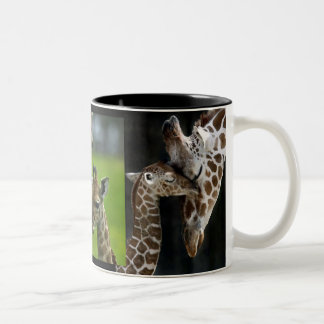 Cup of giraffes mother + Child Two-Tone Coffee Mug