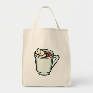cup of hot cocoa with whipped cream grocery tote bag