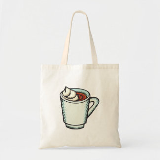 cup of hot cocoa with whipped cream budget tote bag