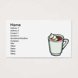 cup of hot cocoa with whipped cream business card