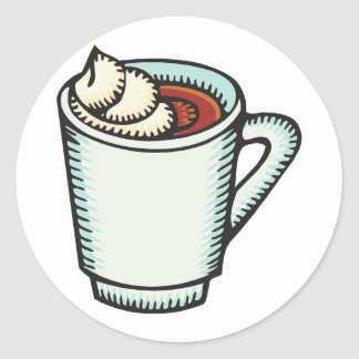 cup of hot cocoa with whipped cream classic round sticker