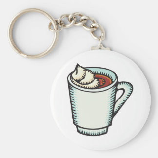cup of hot cocoa with whipped cream keychain