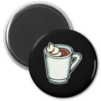 cup of hot cocoa with whipped cream 2 inch round magnet