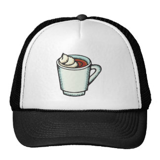 cup of hot cocoa with whipped cream mesh hats