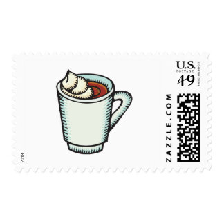 cup of hot cocoa with whipped cream postage stamp