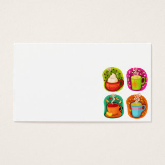 Cup of Hot Drink Coffee or Tea Vector Illustration Business Card