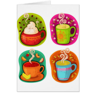 Cup of Hot Drink Coffee or Tea Vector Illustration Card