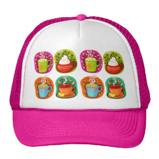 Cup of Hot Drink Coffee or Tea Vector Illustration Trucker Hats