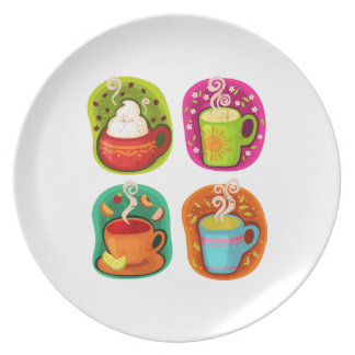 Cup of Hot Drink Coffee or Tea Vector Illustration Plate