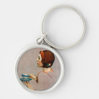Cup of Java Silver-Colored Round Keychain