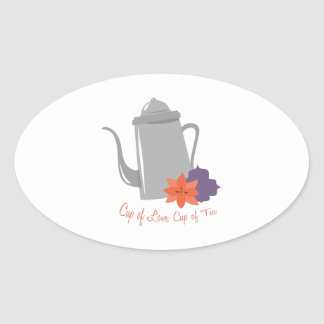 Cup of Love Oval Sticker