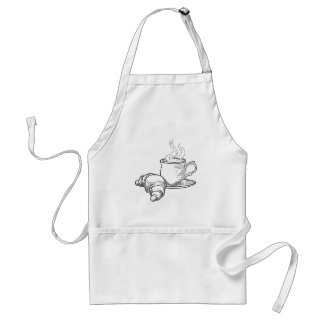 Cup of Tea and Croissant Vintage Retro Style Adult Apron