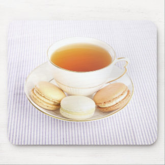 Cup of tea and macaroons mouse pad