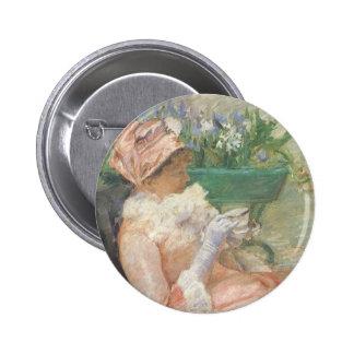 Cup of Tea by Cassatt Vintage Impressionism Art Button