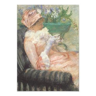 Cup of Tea by Cassatt, Vintage Impressionism Art 5x7 Paper Invitation Card