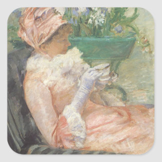 Cup of Tea by Mary Cassatt, Vintage Impressionism Square Sticker
