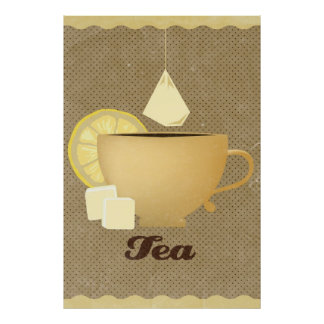 Cup of tea illustration poster