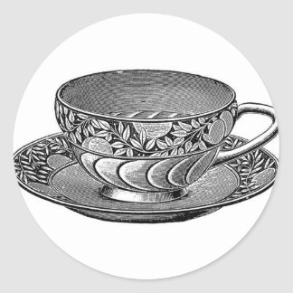 CUP OF TEA LINE CLASSIC ROUND STICKER