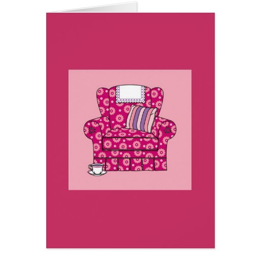 Cup of Tea Pink Chair Greeting Cards
