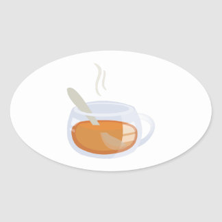 Cup Of Tea Oval Stickers
