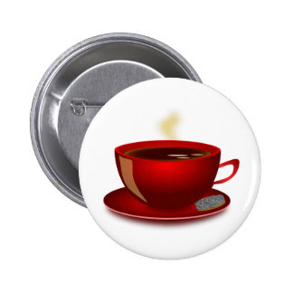cup_of_tea_Vector_Clipart TEA COFFEE Red Mug 2 Inch Round Button