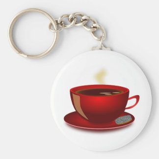 cup_of_tea_Vector_Clipart TEA COFFEE Red Mug Keychain