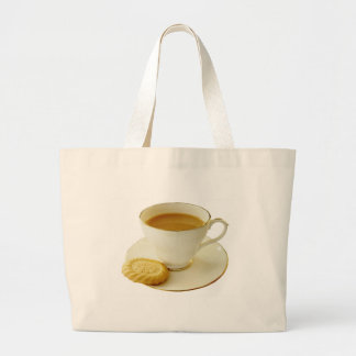 Cup of tea with cookie canvas bags