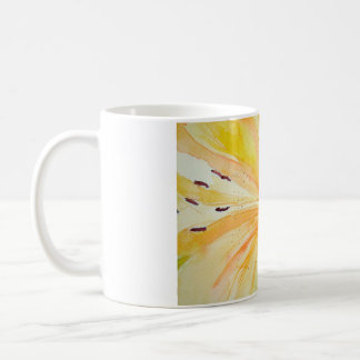Cup of yellow iris in watercolor