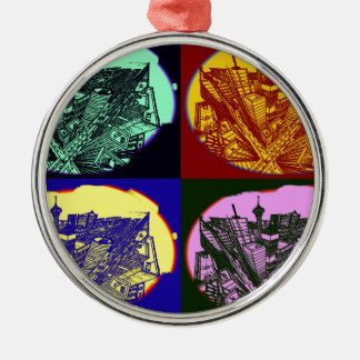 cup - town center 3 POINT perspective pop kind Metal Ornament