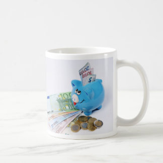Cup with euro motive for currency
