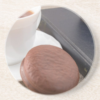 Cup with hot cocoa and chocolate cake sandstone coaster