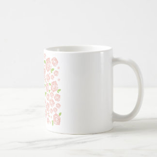Cup with vintage roses classic white coffee mug