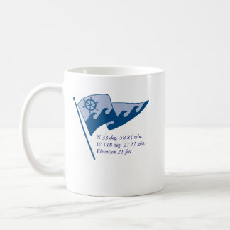 Cup with waving burgee & regular burgee classic white coffee mug