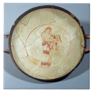 Cup without foot, standing Muse playing the lyre, Large Square Tile