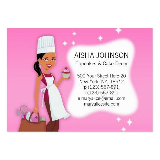 Cupake Biz Card Template African American 3 Business Cards