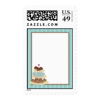 cupake border blue postage stamps