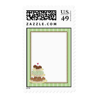 cupake border green postage stamps