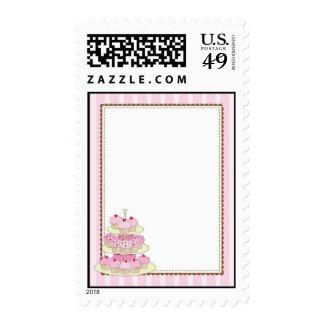 cupake border pink postage stamp