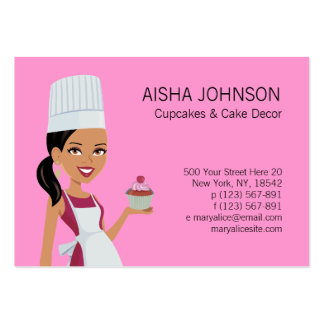 Cupake Business Card Template with African Am Char